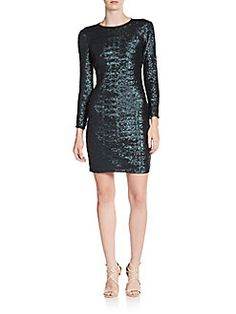 Sequined Sheer-Back Mini Dress