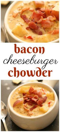 Bacon Cheeseburger Chowder Recipe Chowder Soup, Chowder Recipes, Chili Recipes, Soup Recipes, Cooking Recipes, Bacon Chili Recipe, Chicken Recipes, Crock Pot Soup, Soup And Sandwich