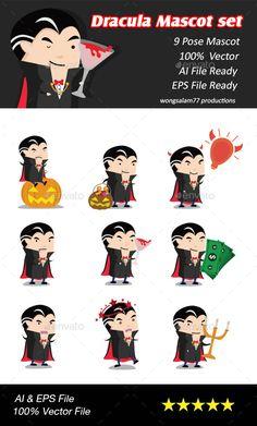 Dracula Mascot Set