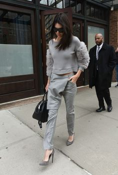 Kendall.. Sally Lapointe Pre-Fall 2015 sweater and trousers, Marc Jacobs Incognito tote, and Saint Laurent suede Paris pumps..... - Celebrity Fashion Trends