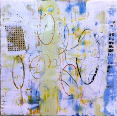 """encaustic and collage on board 12""""x12"""" amy Weil"""