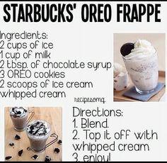 Starbucks Oreo Frappe #Recipes #starbucks #Frappe