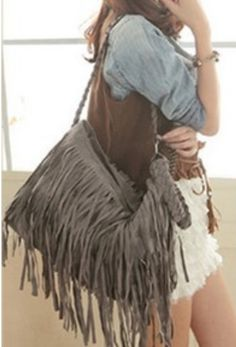 Grey Boho Fringe Purse ~ Suede tassel messenger