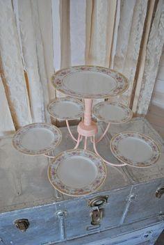 repurposed chandelier turned dessert/cake display! love this idea!