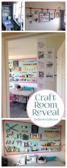 Craft Room Office Reveal. Featured on Good Housekeeping and House Beautiful! | ByDawnNicole.com