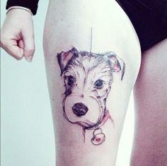 Sketch Style Dog Tattoo by Simona Blanar