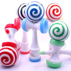 New Collection of Lollipop Kendamas with plastic cups and plastic spike tips. http://www.kalebkendama.com/collections/lollipop