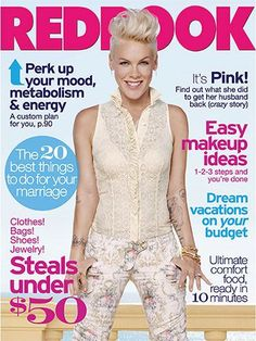 Singer P!nk covers the MARCH issue of Redbook Magazine where she talks about what makes her feel beautiful, her reconciliation with her husband and her beautiful daughter Willow. We think she looks stunning! Celebrity Gossip, Celebrity News, Carey Hart, Girl Photo Gallery, Red Books, Lucy Liu, Weird Stories, Vacation Outfits, Simple Makeup