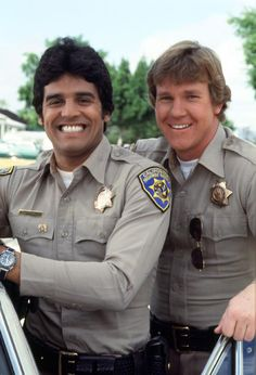 CHIPS ~ Eric Estrada and Larry Wilcox. Ponch and John.  Met both of them while filming on location outside of my dad's shop.  Around 1978?  I hid behind a trash can so the camera wouldn't pick me up.