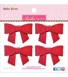 Bella Blvd Bella Felt Bows 2''x1.5'' - Bell Pepper