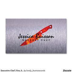 Executive Chef | Fire, Steel Standard Business Card #steelfinish #steelbrush #fire #griller #restaurantindustry #gourmetchef