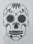 How fun!! Great for some Halloween Gelli printing fun :) Frog Dog Studio Exclusive Stencil - Skull 9x12in