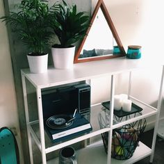 Shelf, Plants, Pots, Water Can, Candle/tray Set: IKEA - Mirror, Candle: UO - Basket, Record Player: Wayfair by viviannnv - Snupps