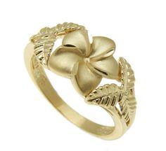 SOLID 14K YELLOW GOLD HAWAIIAN 11MM PLUMERIA FLOWER 6 MAILE LEAF RING