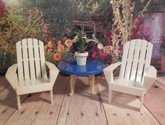 Ideal YARD CHAIRS Plasco TABLE Vintage Renwal Dollhouse Furniture Plastic 1:16 #IdealPlasco