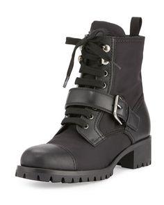 X3AE0 PRADA Leather Nylon Hiking Boot, Black (Nero)
