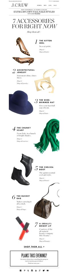 #newsletter J.Crew 11.2014 The hat. The boot. The scarf. The bag