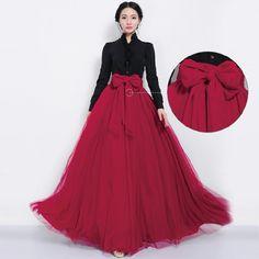 Women summer long tulle skirt front bowknot floor length long maxi skirts for women elegant evening cocktail free shipping