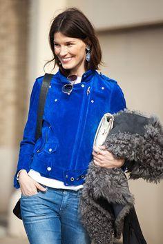Hanneli Mustaparta in a blue suede motorcycle jacket + skinny jeans