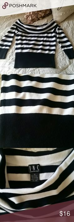 INC cropped sweater Black and white striped with black around waist, very slight pilling as shown in pic 4, 3/4 sleeves,  lightweight, cowl neck, and cropped length. Worn twice INC International Concepts Sweaters Cowl & Turtlenecks