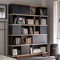95 Awesome DIY Bookshelves Storage Style Ideas - Page 62 of 97 Minimalist Bookshelves, Cool Bookshelves, Modern Bookshelf, Bookshelf Ideas, Bookshelf Room Divider, Bookshelf Storage, Bookshelf Design, Bookcase Decorating, Shelving