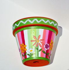 Hand Painted Flower Pot 8 Inch Sherbet Stripes by ThePaintedPine