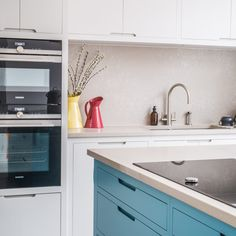 Stylish Blue Accented Kitchen with Walk In Larder - Sustainable Kitchens
