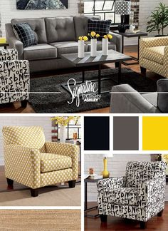 Brindon Charcoal Sofa & Accent Chairs - Living Room Furniture and Accessories