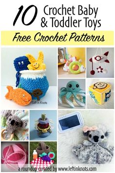 Crocheted baby and toddler toys are a fun way to give a DIY baby gifts without making a baby blanket, and if my opinion they can be a lot more fun to make too! They are often faster and less expensive than baby blankets also. Here are 10 of my favorite free crochet baby and toddler toy patterns. #freecrochetpattern #crochetpatternroundup #crochet