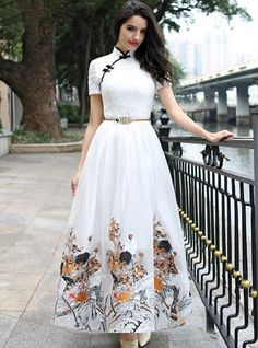 Buy Vintage Embroidery Improved Cheongsam Maxi Dress Without Belt at dresssurefy.com, Design Vintage Embroidery Improved Cheongsam Maxi Dress Without Belt with High Quality and Low Price.
