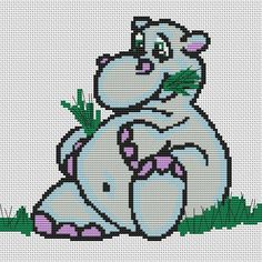 Cross Stitch Kit  Po  Hippo  Hippopotamus by FredSpools on Etsy, $8.00