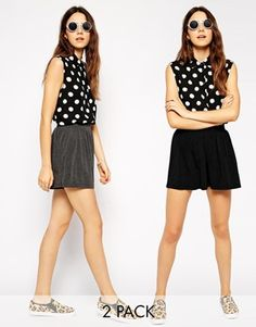 ASOS 2 Pack Culotte Shorts - Charcoal/black