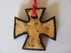 Wooden Cross Pendant Birch Burl Wood burned edges and by RandEShop