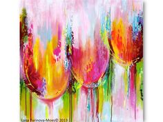 ORIGINAL Large Abstract Pink Tulips Landscape Modern Thick Impasto Texture Palette Knife Painting by Lana 36 x 36 inches. $505.00, via Etsy.