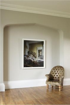 An inspirational image from Farrow and Ball.Lounge with walls in Elephant's Breath Estate Emulsion, ceiling in Great White Estate Emulsion and woodwork in All White Estate Eggsh Room Color Schemes, Room Colors, House Colors, Paint Colours, Living Room Paint, My Living Room, Living Room Decor, Farrow And Ball Paint, Farrow Ball