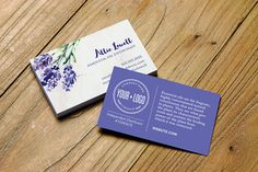 Watercolor lavender business card design personalized for essential oil distributors & advocates. Choose from dōTerra, Young Living, your own logo or a generic version.