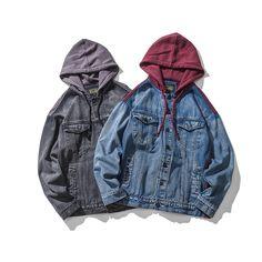Streetwear Hip Hop Splice Denim Jacket Men 2018 Hooded Patchwork Contrast  Color Denim Jacket Men Jaqueta Masculina – A501 – vaguestar ac5addbde