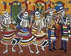 Los Mariachis ~ Fine-Art Print - Mexican Culture Art Prints and Posters - Mexican Culture Pictures Sugar Skull Painting, Culture Art, Day Of The Dead Art, Mexican Art, Skull Art, Stretched Canvas Prints, Art Pictures, Artsy, Fine Art Prints
