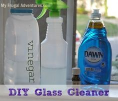 Homemade Glass Cleaner- 1 Cup Warm Water, 1 Cup Vinegar, 1/2 tsp. Dawn, add to spray bottle, shake! by mari
