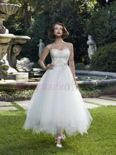 Hot Selling Ballgown Sweetheart Tulle Knee Length Wedding Dress WD-3031