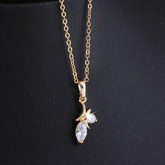 45cm Fashion Zircon Crystal Drop Pendant 18K Gold Plated Copper Necklace