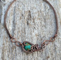 Tibetan Turquoise Viking Knit Necklace by OliveEweDesigns on Etsy, $50.00