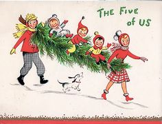 The five of them at Christmas.