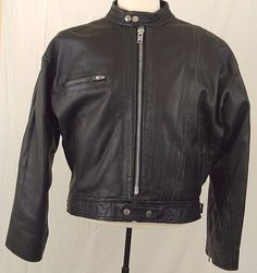 Diesel Distressed Charcoal Black Leather Cafe Biker Moto Racer Jacket Mens XL #Diesel #Motorcycle