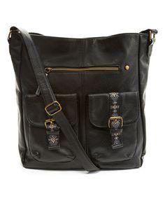 Look at this #zulilyfind! Black Embroidered Crossbody Bag #zulilyfinds