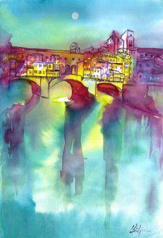 Ponte Vecchio, Florence - watercolor by ©Bulgan Lumini (via ArtistRising)