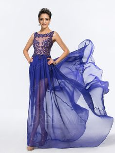 #Valentines #AdoreWe #DressWe - #DressWe Sheer Neck Sleeveless Watteau Train Chiffon Evening Dress - AdoreWe.com
