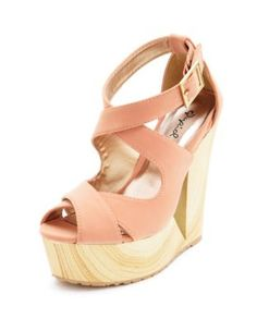 x-front cutout wooden wedge sandal