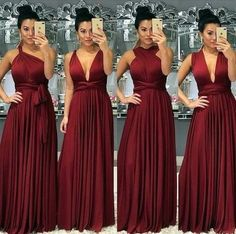 Burgundy bridesmaid dresses long chiffon a line convertible elegant cheap wedding party dresses vest Infinity Dress Bridesmaid, Burgundy Bridesmaid Dresses Long, Bridesmaid Dresses 2018, Red Bridesmaids, Wedding Party Dresses, Prom Dresses, Formal Wedding, Quinceanera Dresses, Party Wedding