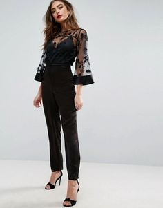 Jumpsuit with Lace Bodice and Contrast Satin Pant Discover Fashion Online Prom Jumpsuit, Formal Jumpsuit, Jumpsuit Outfit, Dress Outfits, Fashion Dresses, Cute Outfits, Satin Jumpsuit, Jumpsuit Pattern, Mode Online
